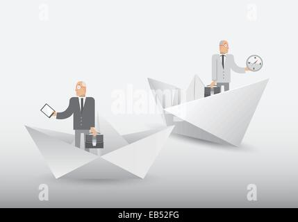 Businessmen standing in origami shapes - Stock Image