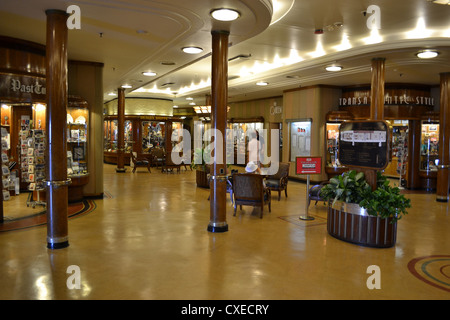 The shopping arcade aboard the RMS Queen Mary, Long Beach, California - Stock Image