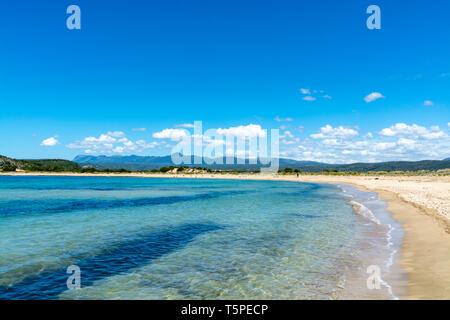 Voidokilia Beach, popular white sand and blue clear water beach in Messinia in Mediterranean area in shape of Greek letter omega, Peloponnese, Greece, - Stock Image