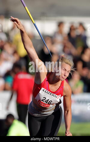 Lucerne, Switzerland. 17th, Jul 2012.  Rebryk Vira of Ukraine in action during the Women's Javelin Throw event of the Meeting athletics competition at - Stock Image