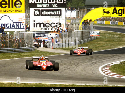 1982 Gilles Villeneuve Canadian 2nd Didier Pironi French 1st Ferrari 126C2s Imola San Marino GP - Stock Image