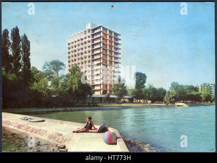 HUNGARY - CIRCA 1969: A postcard printed in Hungary, shows the Hotel Europe, Siofok, Lake Balaton, circa 1969 - Stock Image