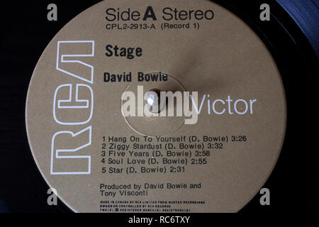David Bowie vinyl record & label - Stage album - Stock Image