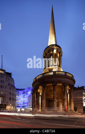 All Souls Church is an Anglican Evangelical church in central London, situated in Marylebone at the north end of - Stock Image