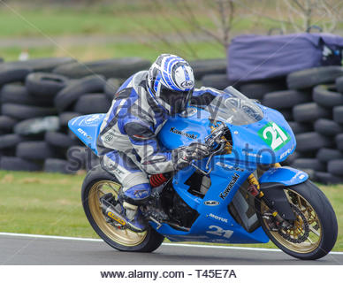 East Fortune, UK. 14 April, 2019.   riding a in a  race at East Fortune Raceway, during the opening rounds of the 2019 Scottish Championships, Melville Open and Club Championships. Credit: Roger Gaisford/Alamy Live News - Stock Image