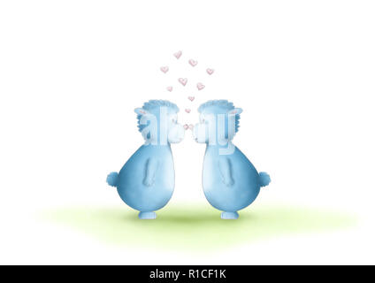 two cute hand drawn, gender neutral, blue fantasy creatures, equal sexes, showing love by rubbing noses, on white background - Stock Image
