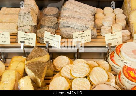 Paris France Place de la Madeleine Hediar cheese shop window - Stock Image