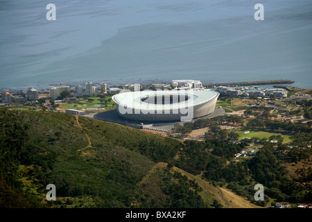 A View of Green Point Stadium from Table Mountain, Cape Town, Western Cape Province, South Africa. - Stock Image