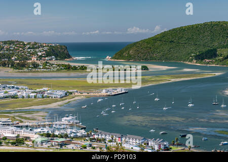 View of Knysna Lagoon seen from Knysna Heights on the Garden Route in the Western Cape Province, South Africa. - Stock Image