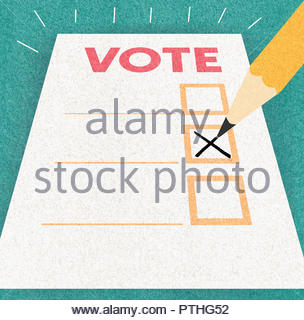 Pencil writing cross on voting paper - Stock Image