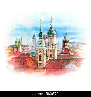 Watercolor Prague, Czech Republic - Stock Image