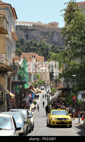 Aiolou street in Athens center - Stock Image