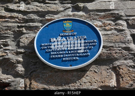 A Blue Plaque to mark the home in Stromness, Orkney of Eliza Fraser, a rather controversial figure in Australian history. - Stock Image