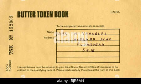 Booklet cover, Butter Token Book, part of a social security benefit scheme, for half a pound of butter at a reduced price.  (1 of 2) - Stock Image