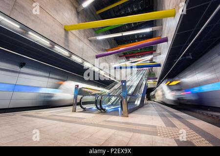 Architecture, Interior View, Railway Station, Saxony, Leipzig, Germany, Europe - Stock Image