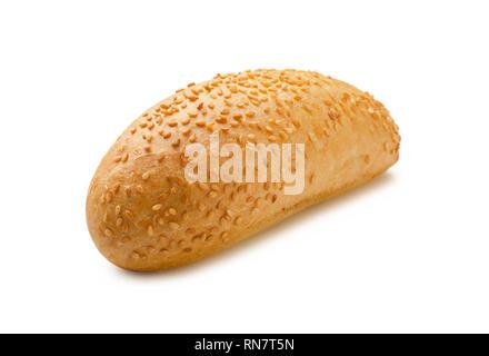 Hot dog bun with sesame seeds isolated on white background - Stock Image