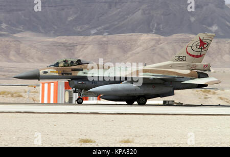 """Israeli Air Force (IAF) General Dynamics F-16C at take off.  Photographed at the  """"Blue-Flag"""" 2017, an international - Stock Image"""