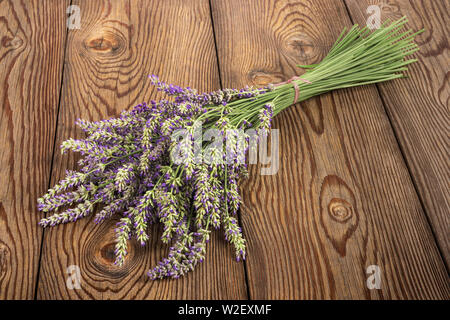 Lavender flowers bunch  isolated on white background - Stock Image