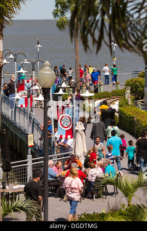 Tourists outside at Kemah boardwalk amusement park Texas USA - Stock Image