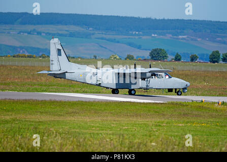 UK Army Air Corps Islander about to take off from Inverness Dalcross airport in the Scottish Highlands. - Stock Image