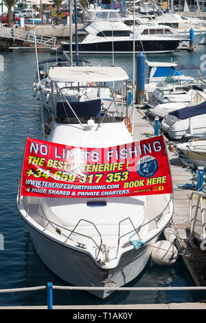 Boat offering No Limits Fishing trips in  Puerto Colon, Costa Adeje, Tenerife, Canary Islands - Stock Image