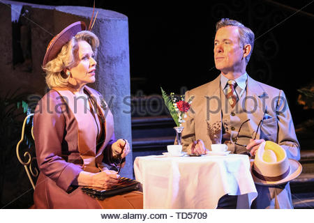 Royal Festival Hall, London, UK, 12th June 2019.  Renée Fleming as Margaret Johnson (l) and Alex Jennings as Signor Naccarelli (r) in the Florence Piazza where much of the musical is set. Tony Award Winning romantic musical 'The Light in the Piazza' will be making its London premiere at the Royal Festival Hall on Wednesday 12th June and will run 14th June to 5th July. It stars soprano superstar Renée Fleming and Dove Cameron, star of Disney's 'The Descendants', as well as Alex Jennings, Rob Houchen, Celinde Schoenmaker and many others. Credit: Imageplotter/Alamy Live News - Stock Image