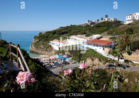 Portugal, Algarve, Benagil, View over Village - Stock Image