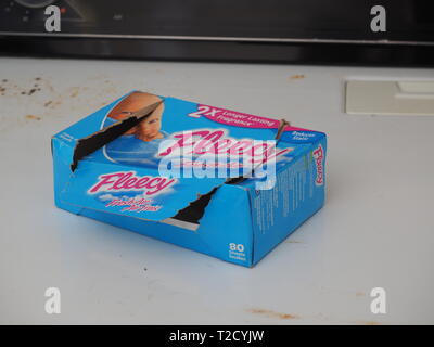 Quebec,Canada. An open box of Fleecy fabric softener sheets - Stock Image