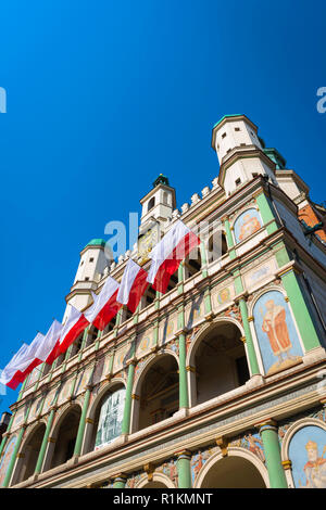 Town Hall Poznan, view of the upper exterior of the Renaissance Town Hall building (Ratusz) in Market Square in the Old Town area of Poznan, Poland. - Stock Image
