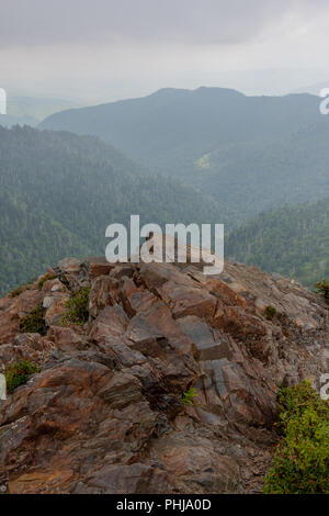 Rocky Outcropping at Charlies Bunion in the Smokies - Stock Image