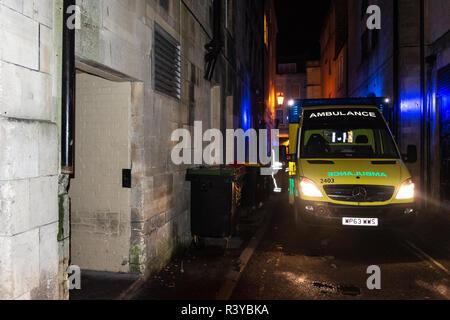 Bath Somerset UK, 24th November 2018  Ambulance on scene at fire at Westgate public house bath somerset  Credit Estelle Bowden/Alamy Live News - Stock Image