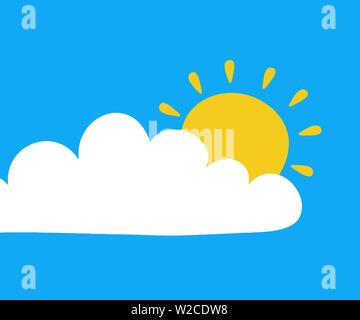 sky blue sun cloud nature day morning illustration - Stock Image