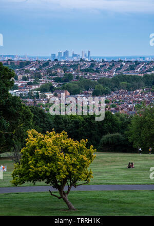 London, England, UK - June 1, 2019: People sit in Alexandra Palace Park as dusk falls over the suburbs and skyline of London. - Stock Image