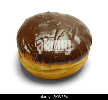 Chocolate Filled Donut Isolated on White Background. - Stock Image