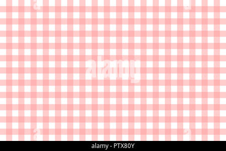 Gingham-like table cloth with baby pink and white checks. Symmetrical overlapping stripes in a single solid color against white background - Stock Image