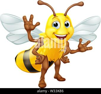 Bumble Honey Bee Bumblebee Cartoon Character - Stock Image
