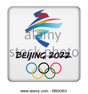 Beijing 2022 Winter Olympic Games logo sign - Stock Image