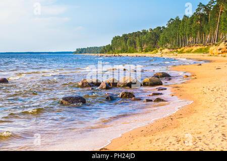 Rocky seacoast of the Baltic sea in Latvia - Stock Image