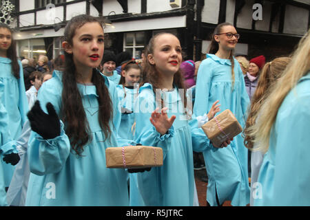 Rochester, Kent, UK. 1st December 2018: Hundreds of people attended the Dickensian Festival in Rochester on 1 December 2018. The festival's main parade has participants in Victorian period costume from the Dickensian age. The town and area was the setting of many of Charles Dickens novels and is the setting to two annual festivals in his honor. Photos: David Mbiyu/ Alamy Live News - Stock Image