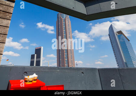 'Skyline Garden' on the roof of 'Skyline Plaza' in Frankfurt, Germany. April 2017. - Stock Image