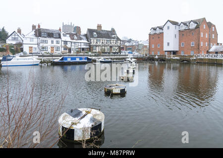 Tewkesbury Mil in Worcestershire in the snow - Stock Image