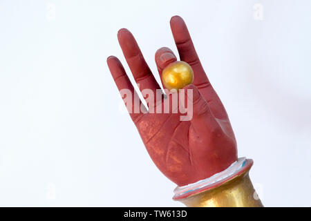 Buddhist statue, wisdom hand holding a pearl, Huaning Temple, Yining (Ghulja), Xinjiang Province, China - Stock Image