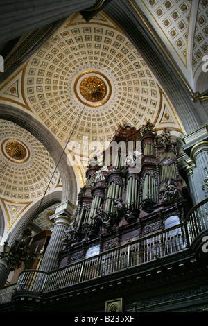 The Ceiling and Organ in Puebla Cathedral, Puebla City, Mexico - Stock Image