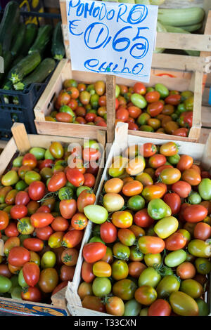 Pomodoro tomatoes on sale with euro price ticket at Ballero street market for vegetables and salads in Palermo, Sicily, Italy - Stock Image