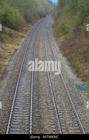Railway lines outside the Gloucestershire town of Moreton on the Marsh - Stock Image