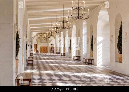 Great Hall Gallery of Chateau Chenonceau, Indre-et-Loire, Centre, France - Stock Image