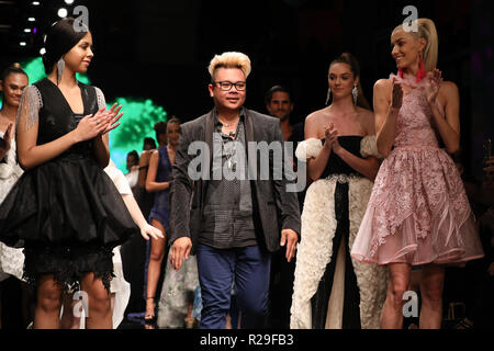Los Angeles Fashion Week - Art Hearts Fashion - RC Caylan - Catwalk  Featuring: RC Caylan (C), Fashion Designer, Models Where: Los Angeles, California, United States When: 14 Oct 2018 Credit: Sheri Determan/WENN.com - Stock Image