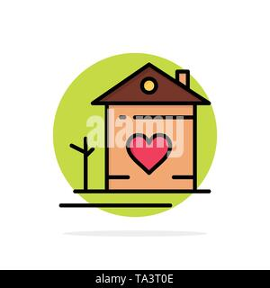 Home, House, Family, Couple, Hut Abstract Circle Background Flat color Icon - Stock Image