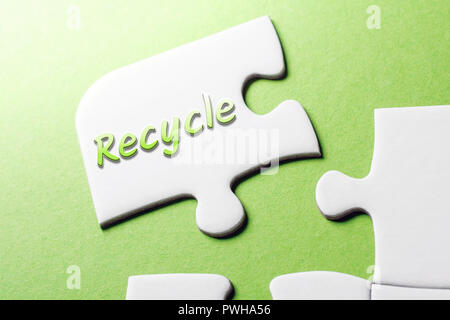 The Word Recycle In Missing Piece Jigsaw Puzzle - Stock Image