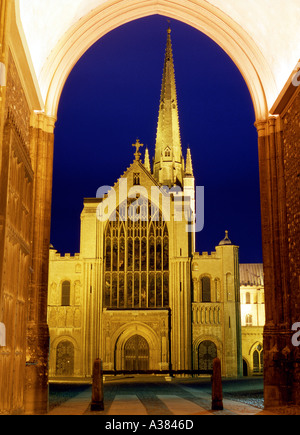 Norwich Cathedral at night Norfolk England - Stock Image